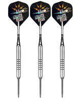 "Click here to learn more about the Bottelsen Original Hammer Head Silver Finish Fine Knurl 1/4"" Barrel No Bounce Steel Tip Darts."