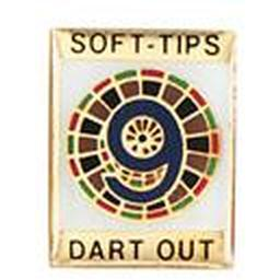 "Soft-Tips ""9 Dart Out"" Award Pin"