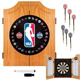 Click here to learn more about the NBA Logo with All Teams Beveled Wood Dart Cabinet Set.