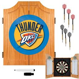 Click here to learn more about the Oklahoma City Thunder NBA Wood Dart Cabinet Set.