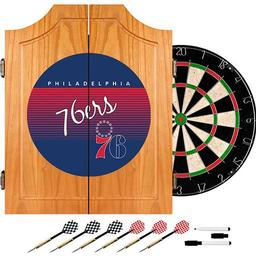 Click here to learn more about the Philadelphia 76ers Hardwood Classics NBA Wood Dart Cabinet.