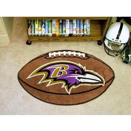 "Click here to learn more about the Baltimore Ravens Football Rug 20.5""x32.5""."