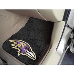 "Click here to learn more about the Baltimore Ravens 2-piece Carpeted Car Mats 17""x27""."