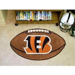 "Click here to learn more about the Cincinnati Bengals Football Rug 20.5""x32.5""."