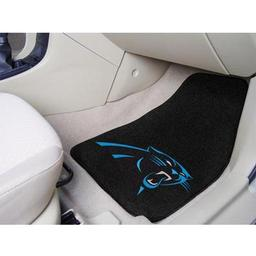 "Click here to learn more about the Carolina Panthers 2-piece Carpeted Car Mats 17""x27""."