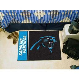 "Click here to learn more about the Carolina Panthers Uniform Inspired Starter Rug 20""x30""."