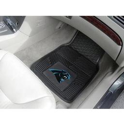 "Click here to learn more about the Carolina Panthers Heavy Duty 2-Piece Vinyl Car Mats 17""x27""."