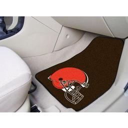 "Click here to learn more about the Cleveland Browns 2-piece Carpeted Car Mats 17""x27""."