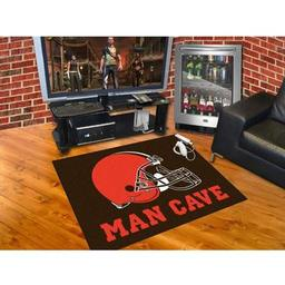 "Click here to learn more about the Cleveland Browns Man Cave All-Star Mat 33.75""x42.5""."