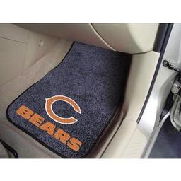 "Click here to learn more about the Chicago Bears 2-piece Carpeted Car Mats 17""x27""."