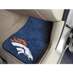 "Click here to learn more about the Denver Broncos 2-piece Carpeted Car Mats 17""x27""."