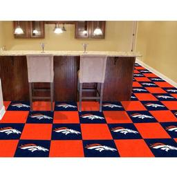 "Click here to learn more about the Denver Broncos Carpet Tiles 18""x18"" tiles."