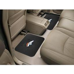 "Click here to learn more about the Denver Broncos Backseat Utility Mats 2 Pack 14""x17""."