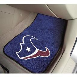 "Click here to learn more about the Houston Texans 2-piece Carpeted Car Mats 17""x27""."