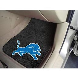 "Click here to learn more about the Detroit Lions 2-piece Carpeted Car Mats 17""x27""."