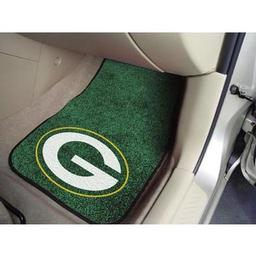 "Click here to learn more about the Green Bay Packers 2-piece Carpeted Car Mats 17""x27""."