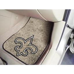 "Click here to learn more about the New Orleans Saints 2-piece Carpeted Car Mats 17""x27""."