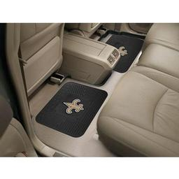 "Click here to learn more about the New Orleans Saints Backseat Utility Mats 2 Pack 14""x17""."