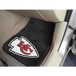 "Click here to learn more about the Kansas City Chiefs 2-piece Carpeted Car Mats 17""x27""."