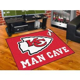 "Click here to learn more about the Kansas City Chiefs Man Cave All-Star Mat 33.75""x42.5""."