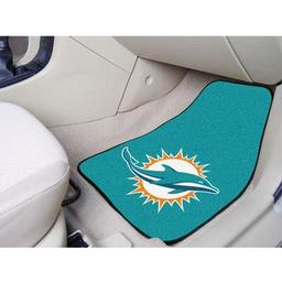 "Click here to learn more about the Miami Dolphins 2-piece Carpeted Car Mats 17""x27""."