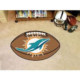 "Click here to learn more about the Miami Dolphins Football Rug 20.5""x32.5""."