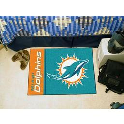 "Click here to learn more about the Miami Dolphins Uniform Inspired Starter Rug 20""x30""."