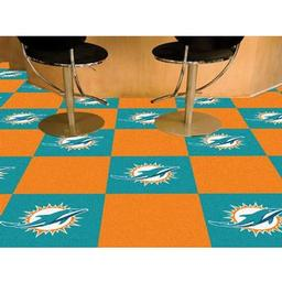 "Click here to learn more about the Miami Dolphins Carpet Tiles 18""x18"" tiles."
