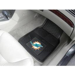 "Click here to learn more about the Miami Dolphins Heavy Duty 2-Piece Vinyl Car Mats 17""x27""."