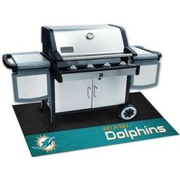 "Click here to learn more about the Miami Dolphins Grill Mat 26""x42""."