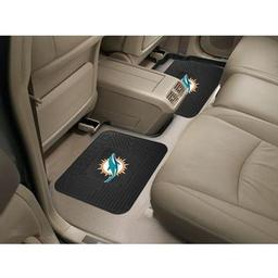 "Click here to learn more about the Miami Dolphins Backseat Utility Mats 2 Pack 14""x17""."