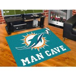 "Click here to learn more about the Miami Dolphins Man Cave All-Star Mat 33.75""x42.5""."