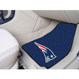 "Click here to learn more about the New England Patriots 2-piece Carpeted Car Mats 17""x27""."