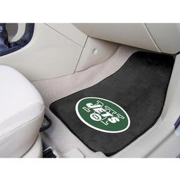 "Click here to learn more about the New York Jets 2-piece Carpeted Car Mats 17""x27""."