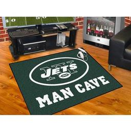 "Click here to learn more about the New York Jets Man Cave All-Star Mat 33.75""x42.5""."