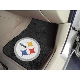 "Click here to learn more about the Pittsburgh Steelers 2-piece Carpeted Car Mats 17""x27""."