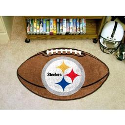 "Click here to learn more about the Pittsburgh Steelers Football Rug 20.5""x32.5""."
