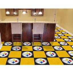 "Click here to learn more about the Pittsburgh Steelers Carpet Tiles 18""x18"" tiles."