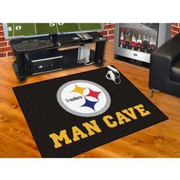 "Click here to learn more about the Pittsburgh Steelers Man Cave All-Star Mat 33.75""x42.5""."