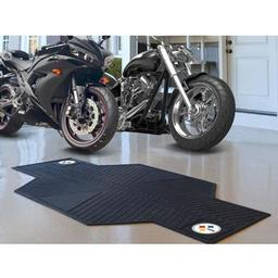 "Click here to learn more about the Pittsburgh Steelers Motorcycle Mat 82.5"" L x 42"" W."