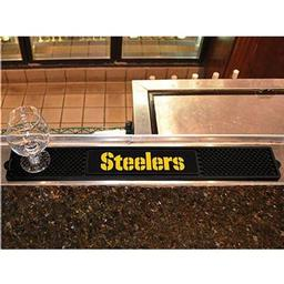 "Click here to learn more about the Pittsburgh Steelers Wordmark Drink Mat 3.25""x24""."