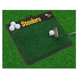 "Click here to learn more about the Pittsburgh Steelers Wordmark Golf Hitting Mat 20"" x 17""."