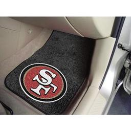 "Click here to learn more about the San Francisco 49ers 2-piece Carpeted Car Mats 17""x27""."
