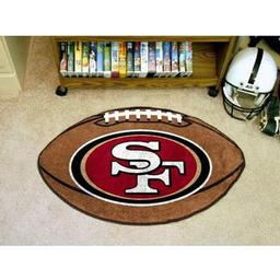 "Click here to learn more about the San Francisco 49ers Football Rug 20.5""x32.5""."