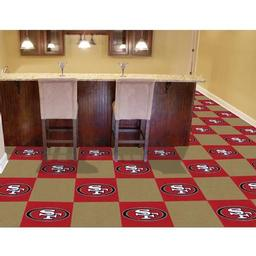 "Click here to learn more about the San Francisco 49ers Carpet Tiles 18""x18"" tiles."