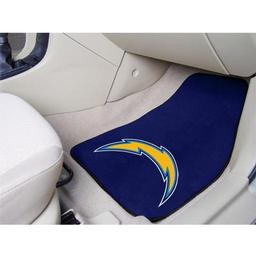 "Click here to learn more about the San Diego Chargers 2-piece Carpeted Car Mats 17""x27""."