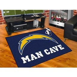 "Click here to learn more about the San Diego Chargers Man Cave All-Star Mat 33.75""x42.5""."