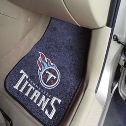 "Click here to learn more about the Tennessee Titans 2-piece Carpeted Car Mats 17""x27""."