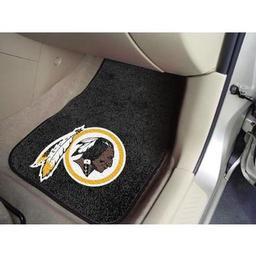 "Click here to learn more about the Washington Redskins 2-piece Carpeted Car Mats 17""x27""."