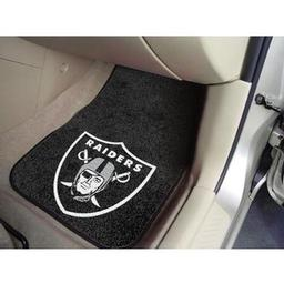 "Click here to learn more about the Oakland Raiders 2-piece Carpeted Car Mats 17""x27""."